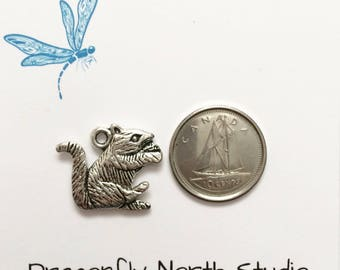 Squirrel charm - animal charm - antiqued silver tone charm