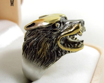 Sterling Silver 925 gold-plated  and black rhodium Wolf Ring , Statement Ring Wolf