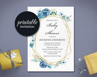 Blue Baby Shower Invitation Boy girl baby shower invitation Floral Boho Blue gold floral Shower Invite Printable baby sprinkle Invitation