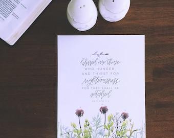 Christian Wall Art  | Handlettered Print | Watercolor Scripture Home Decor | Beatitude | Matthew 5:6 | Bible Verse Wall Art Decor | Green