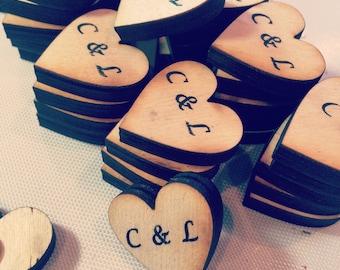 Wedding Favor Wood heart magnets- Set of 50