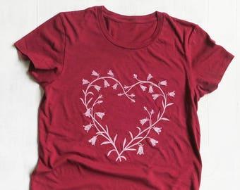 Flower Heart Womens Graphic Tee, Organic Cotton T Shirt, Eco Friendly Clothing, Red T Shirt, Cute Graphic Tee, Organic Tee, Organic Clothing