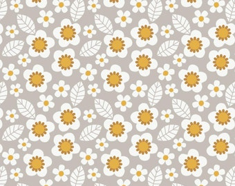 Camelot - Mama & Me - Flowers in Light Grey - Cotton Woven Fabric