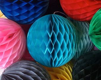 Sky Blue 8 Inch Honeycomb Tissue Paper Balls - Paper Party Decor Decoration Supplies