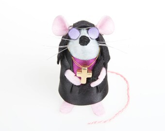 Ozzy Osbourne Mouse - LIMITED EDITION Heavy Metal inspired collectable Rock and Roll Music art rat artists mice felt mouse sculpture toy