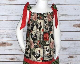 Girls Rooster Dress, Girls Chicken Dress, Pillowcase Dress, Farm Dress, Bird, School, Handmade, Boutique, Baby 6 12 18, Toddler 2T 3T 4T 5 6
