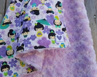 Rosebud minky blanket-kokeshi dolls baby blanket-lavendar rosebud minky-cotton baby blanket-Japanese kokeshi dolls-unique baby gift