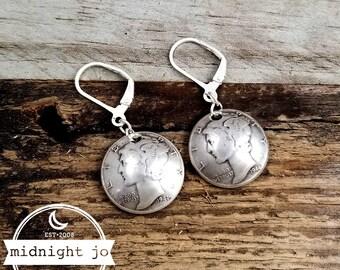 Mercury Dime Drop Earrings - Mercury Dime Earrings - Silver Coin Earrings - Domed Coin Earrings - Coin Dangle Earrings- Silver Dime Earrings