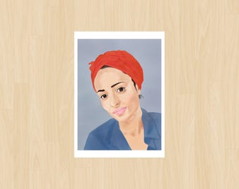 Zadie Smith Print, Instant Download, Printable, PDF File, Free Shipping, Literary Cards, Author, Print