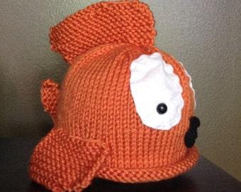 Handknit Infant Goldfish Hat Beanie Fish Baby Photo Prop Halloween Costume