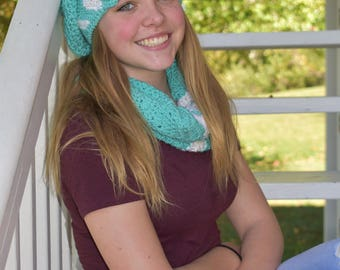 Turquoise chevron slouchy hat and cowl set