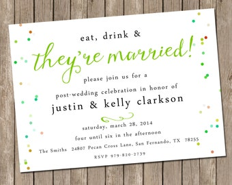 Wedding Brunch Invitation - bridesmaids luncheon invitation - Wedding Party - Digital file - Printable or PRINTED - Confetti - Post Wedding