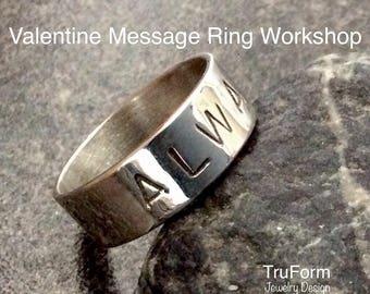 MESSAGE RING Workshop - DIY Stamped Sterling Silver Ring, Make a Sterling Silver Ring, Rings, Couples Date, Jewellery Workshop, VMRW17