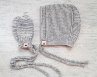 Baby gift set baby cap mittens bonnet and mittens in melange ivory gray alpaca wool baby cap knit baby bonnet baby mittens baby shower gift