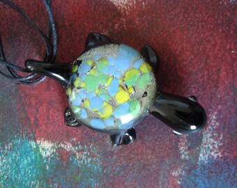 Black Glass turtle pendant necklace