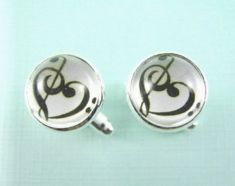MUSICAL HARMONY Silver Cuff Links -- Treble clef and bass clef joined in musical harmony, Music heart, Gift for musicians, For wedding