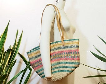 Vintage Woven Market Bag with Leather Straps