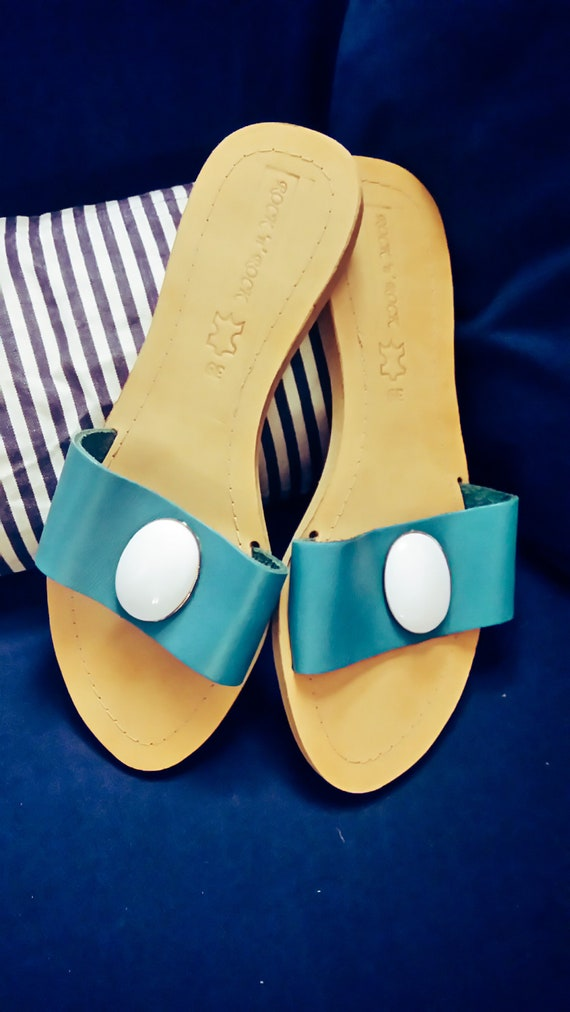 Blue Something Size Blue Turquoise Sandals Sandals Bridal Sandals Leather Greek Sandals US Sandals Gemstone 8 39EU Sandals Sandals qOFCSO
