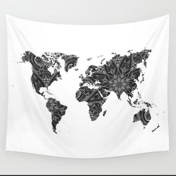 World map black and white mandala wall tapestry boho bohemian gumiabroncs
