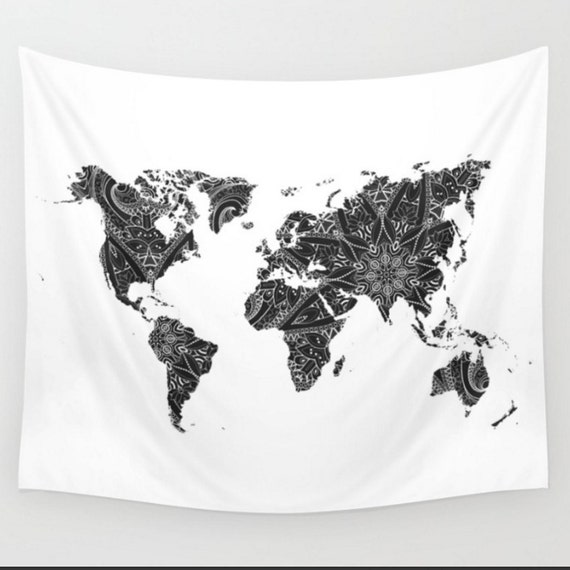 World map black and white mandala wall tapestry boho bohemian gumiabroncs Choice Image