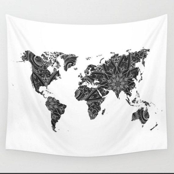 World map black and white mandala wall tapestry boho bohemian gumiabroncs Gallery