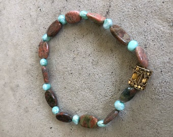 Safari Jasper beads with Pearls and golden accent bead.