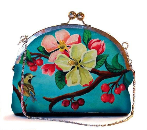 Retro clip purse, clutch bag, Blossom, birthday gift, gift for her, gift for mom, Woody Ellen handbag, christmas gift, christmas gift ideas