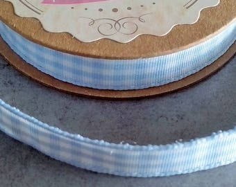 Fabric tape 1 cm adhesive blue gingham cotton for scrapbooking