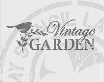 Vintage Garden with Bird Stencil #219