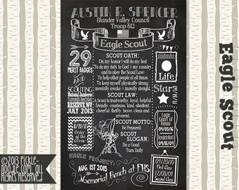 Eagle Scout Court of Honor - Eagle Scout Decorations - Eagle Scout Gift - Eagle Scout Chalkboard - Eagle Scout Infographic - Eagle Scout
