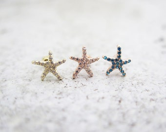 14K gold cartilage earring/Starfish piercing/Tragus Earring/Piercing/Cartilage Piericng/Tragus Piercing/Earring/Starfish earring/Helix