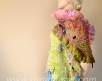Felted Scarf Wrap Shawl made from organic natural eco Wool Silk Fall Autumn Fulvous Leaf