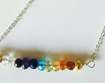 Rainbow Natural Gemstone & Sterling Silver Bar Necklace