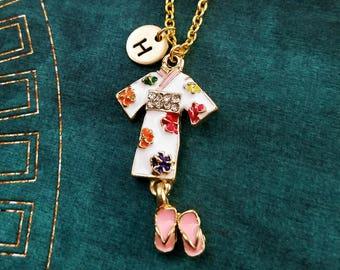 Kimono Necklace Geisha Necklace Japanese Jewelry Japanese Necklace Japan Travel Gift Geta Necklace Personalized Jewelry Initial Necklace