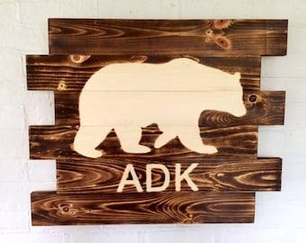 Adirondack Bear ADK Rustic Wood Sign