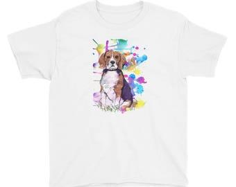 Beagle art on a bright paint splattered background Youth Short Sleeve T-Shirt
