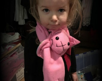 Animal Scarf, Short or Extra Long Light Pink Kitty Cat Stuffed Animal for kids or adults MADE TO ORDER