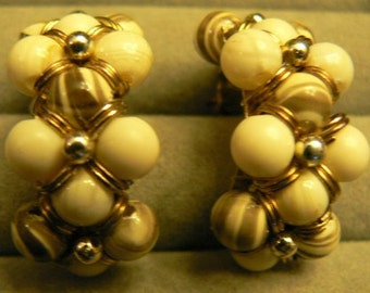 vintage jewels ...  golf toned EARRINGS with Bone and Tiger striped PEARLS and gold wrap clips ...