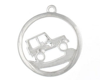 Off Road Vehicle/Jeep - Set of 2 Charms - Bright Silver - #O123 - BACK in STOCK