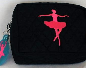 Embroidered Ballerina Quilted Makeup Pouch with Coordinating Zipper Pull