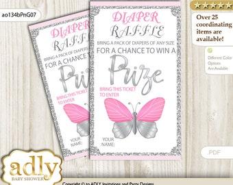 Girl Butterfly Diaper Raffle Tickets Printable for Baby Girl Shower DIY – Summer -ao134bPnG7