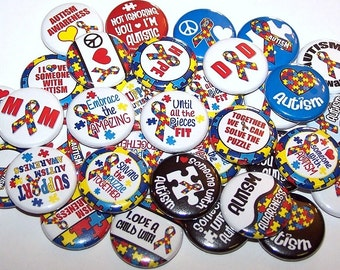 """Autism Awareness Pins (10 Pack), Autistic Puzzle Ribbon, Autism Support Pinback Buttons, 1"""" or 1.5"""" or 2.25"""" Pin Back Buttons or Magnets"""