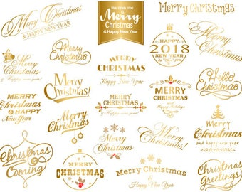 Instant Download Gold Christmas Clipart, Merry Christmas Wording Clipart, Gold Christmas Photo Overlay, Gold Christmas Clip Art 0424