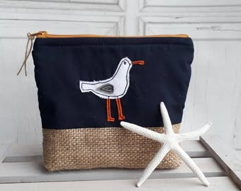 Makeup bag, cosmetic bag, hobby bag, seagull bag, zip pouch, purse, embroidered bag, bag organiser, gift for her