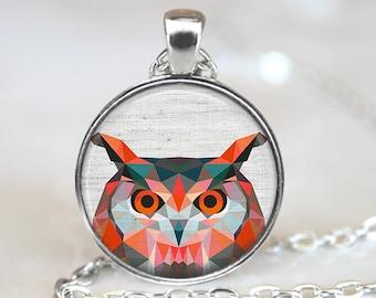 Owl Pendant, Bird Art Necklace, Geometric Owl Jewelry, Bird Art Pendant, Polygon Bird Jewelry, Owl Gift, Owl Art Pendant, Bronze Silver, 031