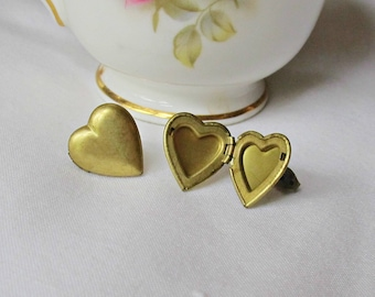 Heart Locket Earrings - Vintage Brass Ear Studs - Valentine's Day Galentine's - Teens Trinket