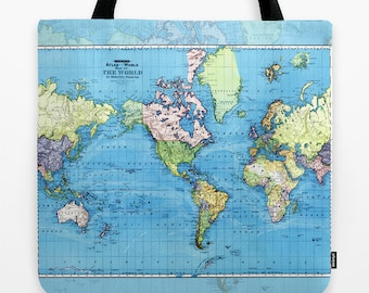 World Map Tote Bag, Colorful historic travel theme tote, everything bag, allover print, gift for mom, beach bag, travel bag