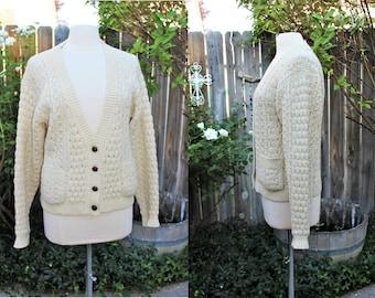 1990's Ivory Fisherman's Cardigan Sweater Small Wool vintage Retro 90's Nordstrom Irish Hipster Classic