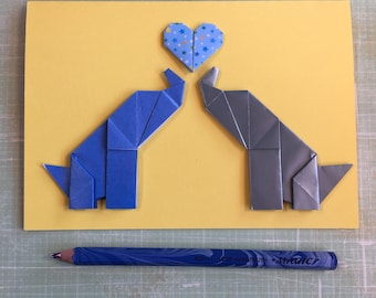 Origami large greeting card - two elephants with heart ( blues)