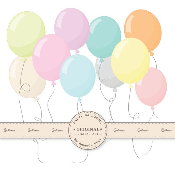 premium pastel party balloons clipart for digital scraps rh etsy com party decor clipart party balloons clipart free